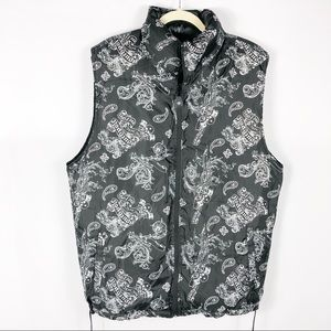 South Pole Reversible Puffer Vest Skull Print